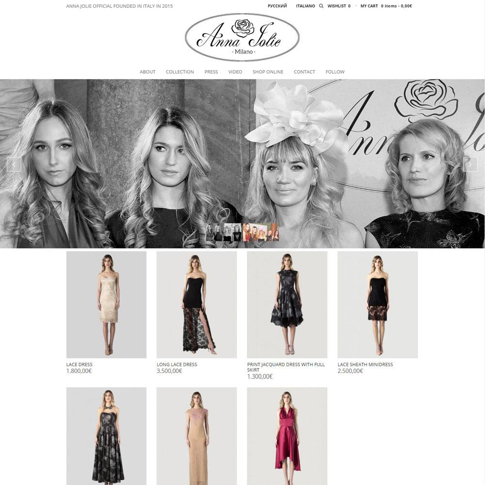 Сайт-магазин на 3-х языках модного Fashion бренда Anna Joli (Milano)